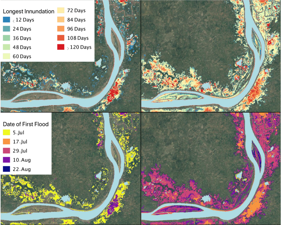 Figure 4. Flood dynamics as captured by Sentinel-1 SAR images. The maximum residence time of floodwaters based on images at 12-day intervals in 2016 (top left) and 2018 (top right). The first detected floodwaters in the 12-day interval images for 2016 (bottom left) and 2018 (bottom right).