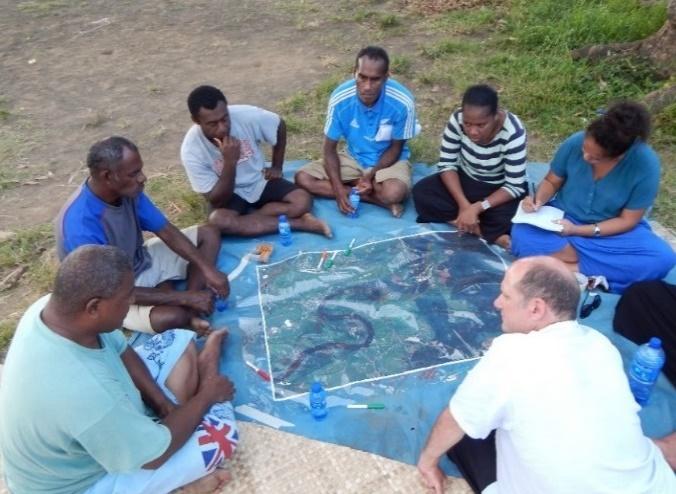 Photo 2. Participatory hazard mapping in Votua, Fiji
