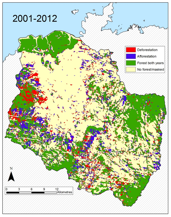 Figure 1. Change in forest/mangrove cover in the Ba River Catchment from 2001-2012