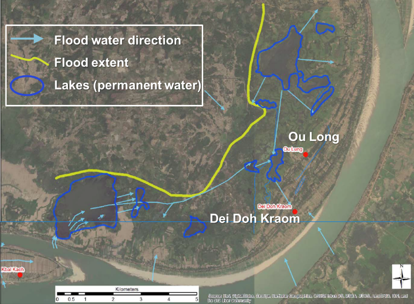 Figure 3. Flood water directions and flood extent in the lower part of Prek Prasop District (based on participatory hazard maps, M. Williams, June 2016).