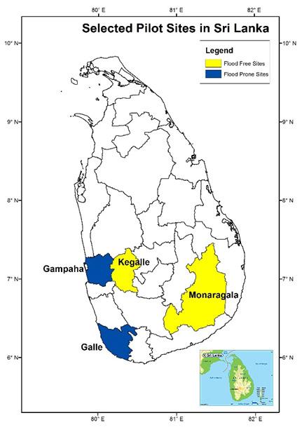 Figure 3. Maps showing the pilot sites in Sri Lanka.