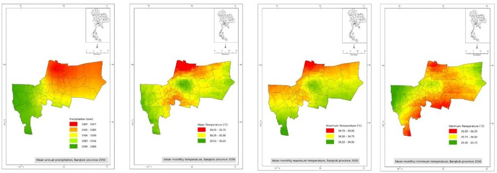 Figure 1. Climate projection for Bangkok for the year 2050.