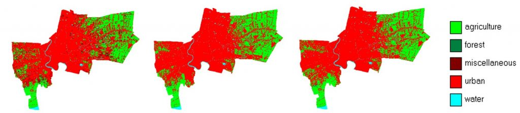 Figure 3. A comparison between 2013 and 2050 Bangkok land-use for BAU and GG scenarios.