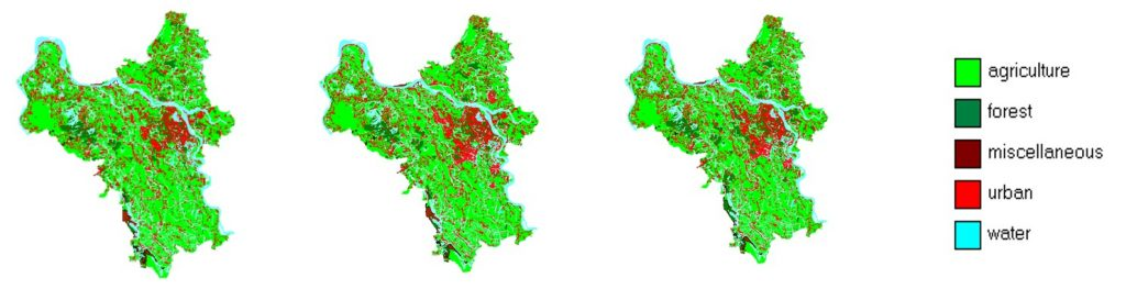 Figure 4. A comparison between 2015 and 2050 Hanoi land-use for BAU and GG scenarios.