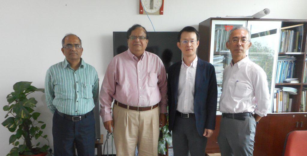 From left: Dr. H. P. Borgaonka, Dr. J. R. Bhatt, Mr. Hiroshi Tsujihara, Mr. Yukihiro Imanari