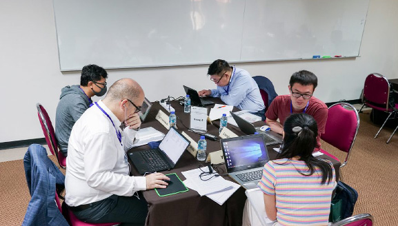 Participants during Day 2 and Day 3 of the symposium during manuscript review and face-to-face discussion within the five different groups.